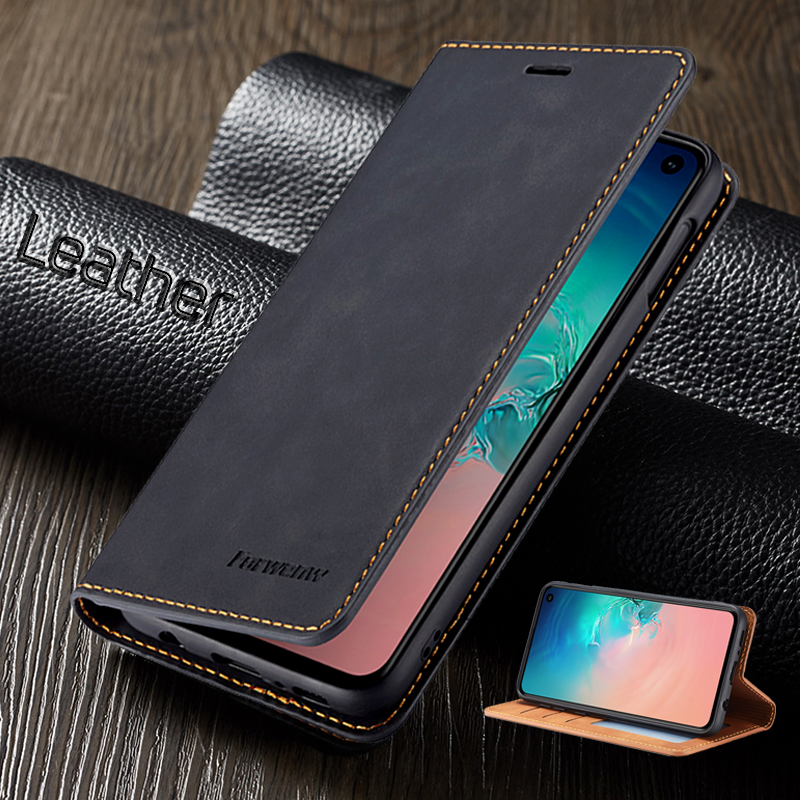 leather flip phone case for samsung galaxy note 10 s10 plus s9 s8 s7 edge cover on a51 a71 <font><b>a50</b></font> a30 a10 a20 a40 a70 s a50s coque image