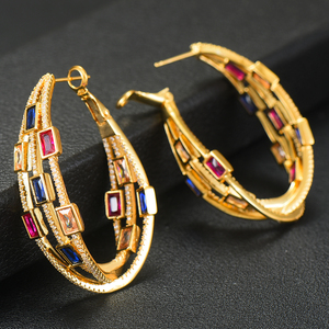 Image 4 - GODKI 2020 Trendy Twist Attraverso Orecchini A Cerchio Dubai Colorato Delle Donne Da Sposa Monili di Cerimonia Nuziale Apertura Orecchino pulseras mujer moda