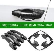 Preto de fibra carbono porta lateral do carro alça tigela copo cobre guarnições para toyota hilux revo 2016 2017 2018 2019 2020