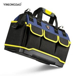 Image 1 - Alet çantası taşınabilir elektrikçi çantası çok fonksiyonlu onarım kurulum tuval büyük kalınlaşmak alet çantası iş cep