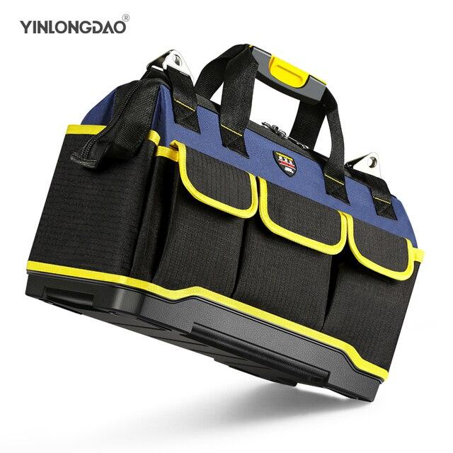 Alet çantası taşınabilir elektrikçi çantası çok fonksiyonlu onarım kurulum tuval büyük kalınlaşmak alet çantası iş cep