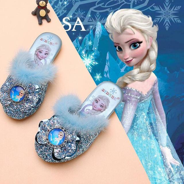 Disney Frozen Elsa Shoes For Girls Children Lovely Cartoon Princess Flat Sandals Shoes Inside and outside slippers With Fur