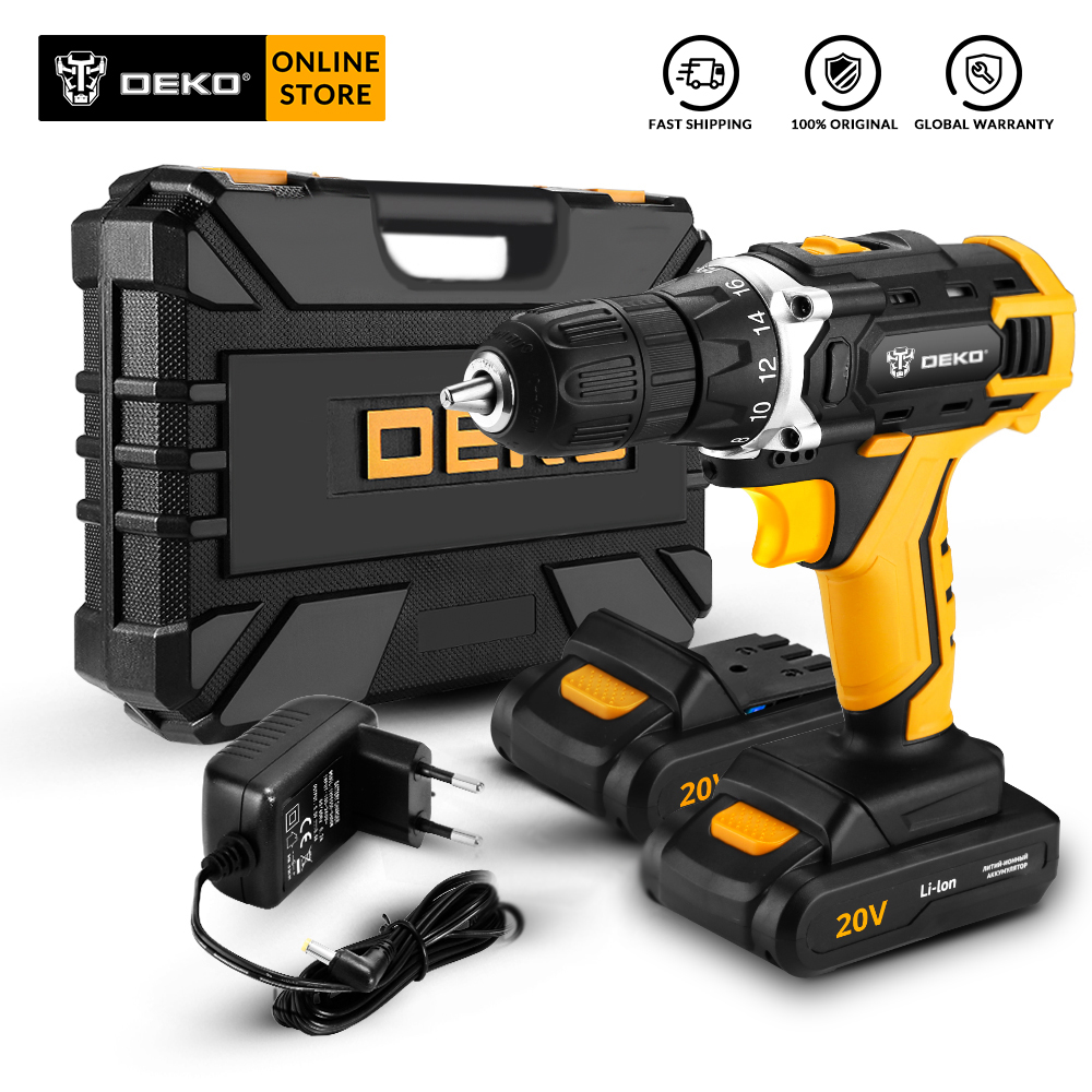 DEKO Sharker 20V Electric Cordless Drill With LED Light Lithium Battery Mini Power Driver For Woodworking Home DIY Screwdriver