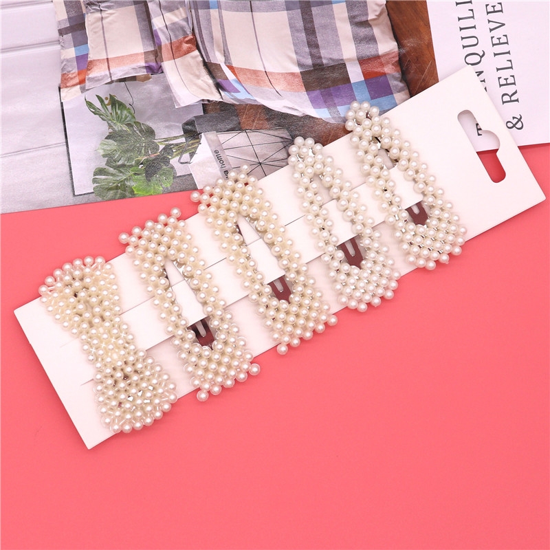 5Pcs/Set Korean Fashion Silver Pearl Hair Clip Barrettes For Women  Girls Elegant Sweet Hairpins Hair Styling Accessories