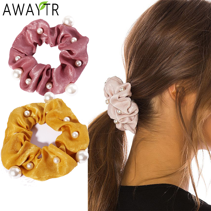 AWAYTR Pearl Satin Scrunchies For Girls Solid Elastic Hair Bands For Women Large Intestine Hair Ties Ropes Hair Accessories