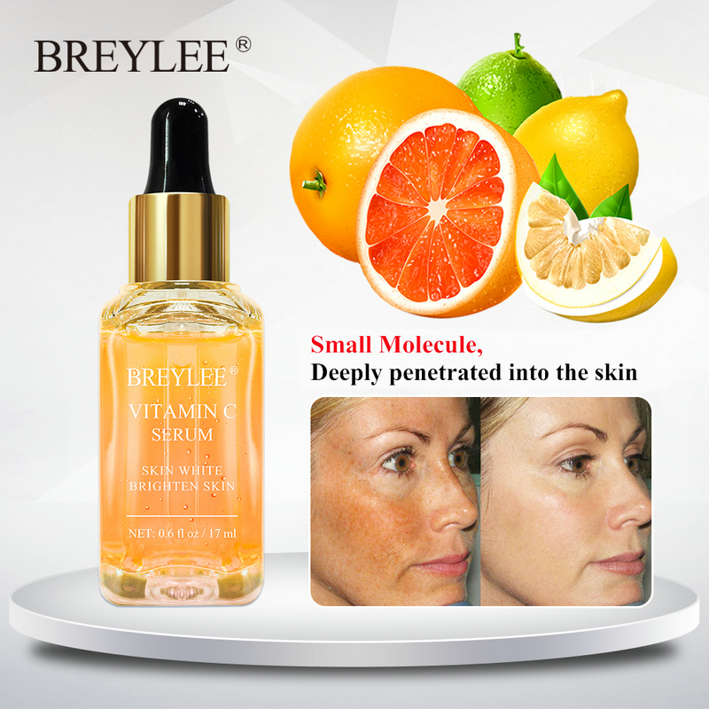 BREYLEE Vitamin C Serum Face Whitening Essence Brighten Skin Facial Skin Care Fade Dark Spots Remove Freckle Dark Circle Remover