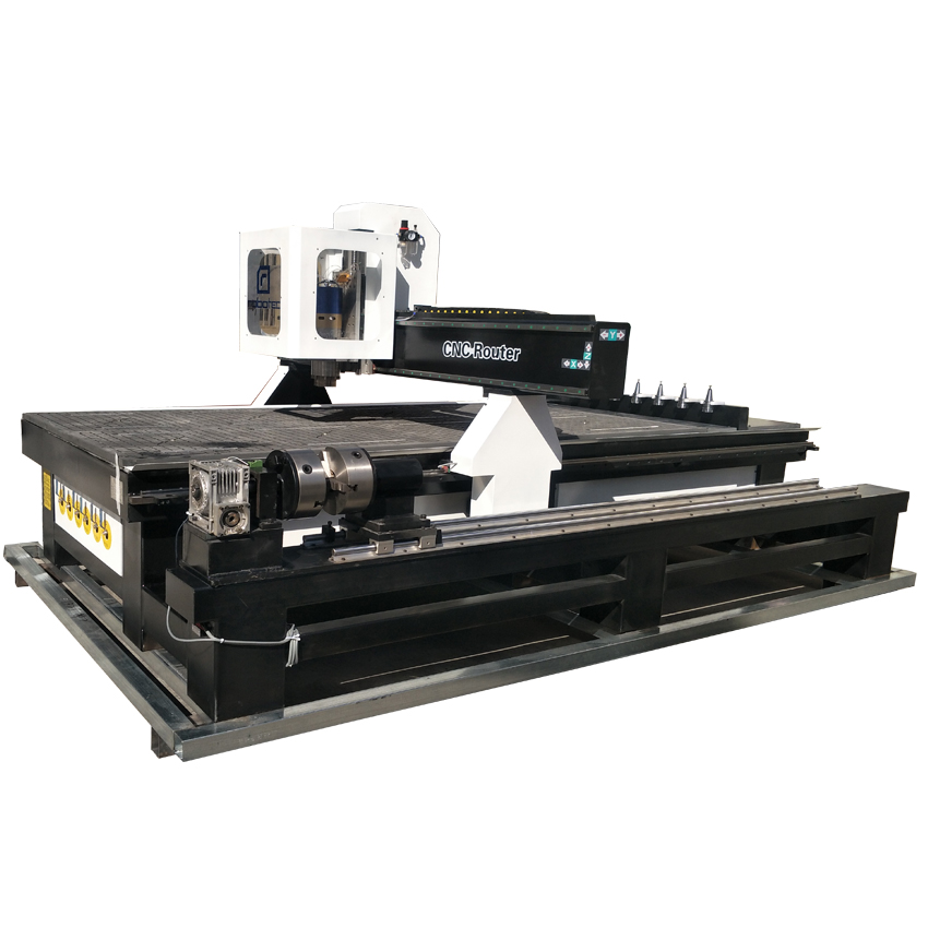 Sculpture Wood Carving CNC Router Machine 1530 ATC 4 Axis Engraving Machine 9KW Spindle Motor Automatic Tool Changer Machine