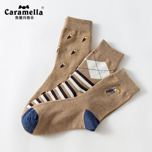 Image 2 - 3 Pairs/Lot Caramella Mens Socks Cotton Crew Socks Mid Calf Length Jacquard Embroidery Animal Pattern