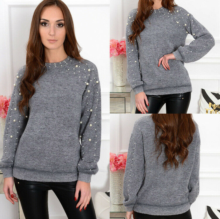 Women Knitted Solid Round Neck Pearl Oversized Loose Sweater Crew Neck Cashmere Jumper Ladies Winter knit Long Pullover Tops