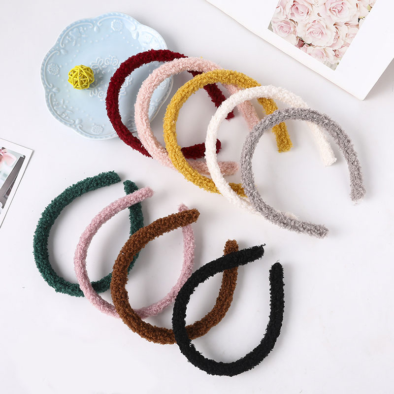 1PC Candy Color Soft Plush Headband Winter Girls Furry Lambswool Head Hoop Turban Kids Hairband Cute Children's Hair Accessories