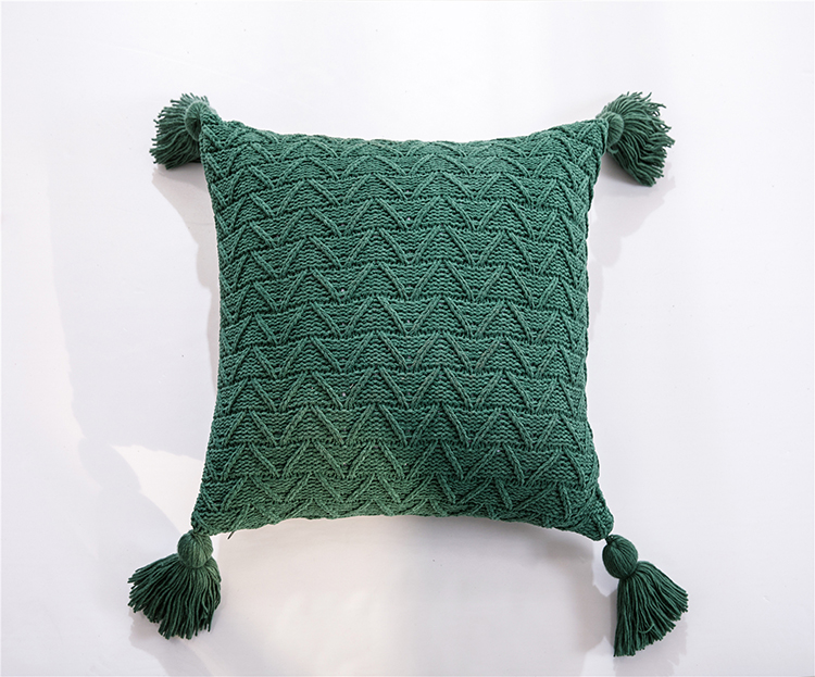 Square Soft Knit Cuhsion Cover with Tassels 45x45cm