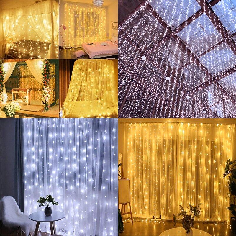 3*3m 300leds Led Curtain Luce Della Stringa di Led Di Natale Ghirlanda Partito Patio Finestra Decor Fata Luci di Natale luci di nozze UE 220V