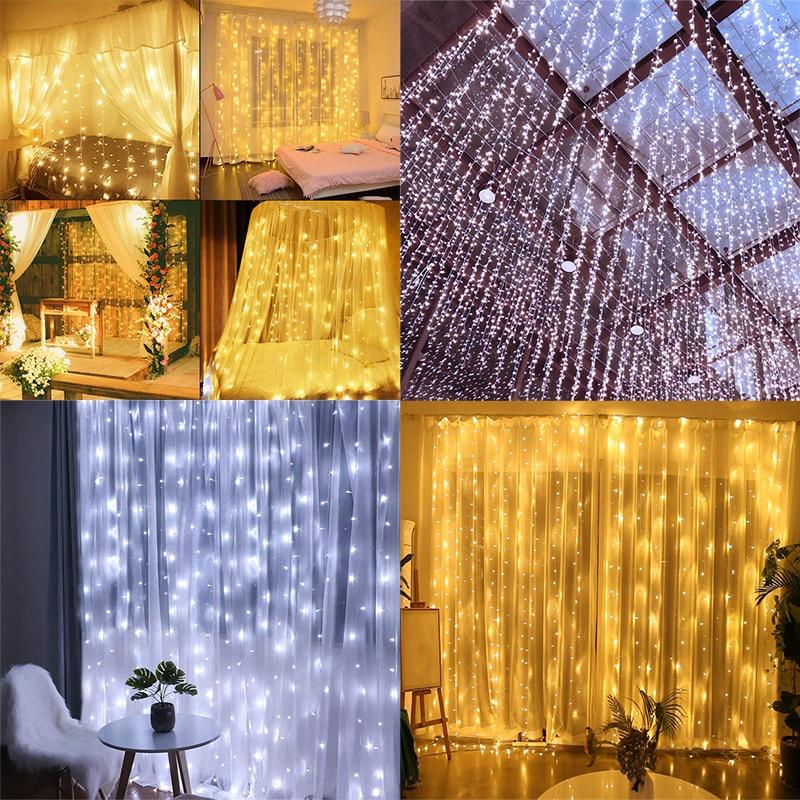 3*3m 300leds Led Gordijn String Light Led Kerst Guirlande Party Patio Window Decor Fairy Lights Xmas bruiloft Lights EU 220V