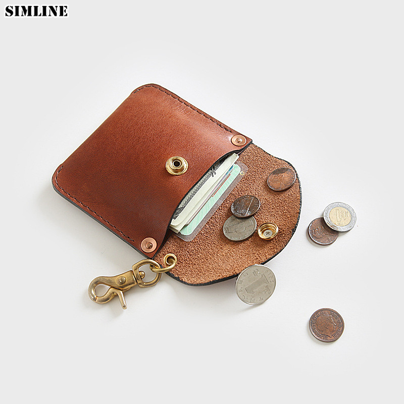 Genuine Leather Coin Purse For Men Luxury Vintage Handmade Small Wallet Wallets Pouch Coin Pocket Storage Money Bag Card Holder