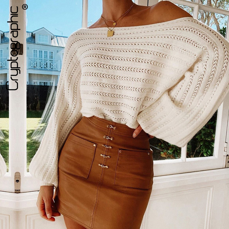 Cryptographic Sweater Women Fashion Slash Neck Hollow Out Striped Knitted Pullovers Tops Lantern Sleeve Solid Loose Sweaters New