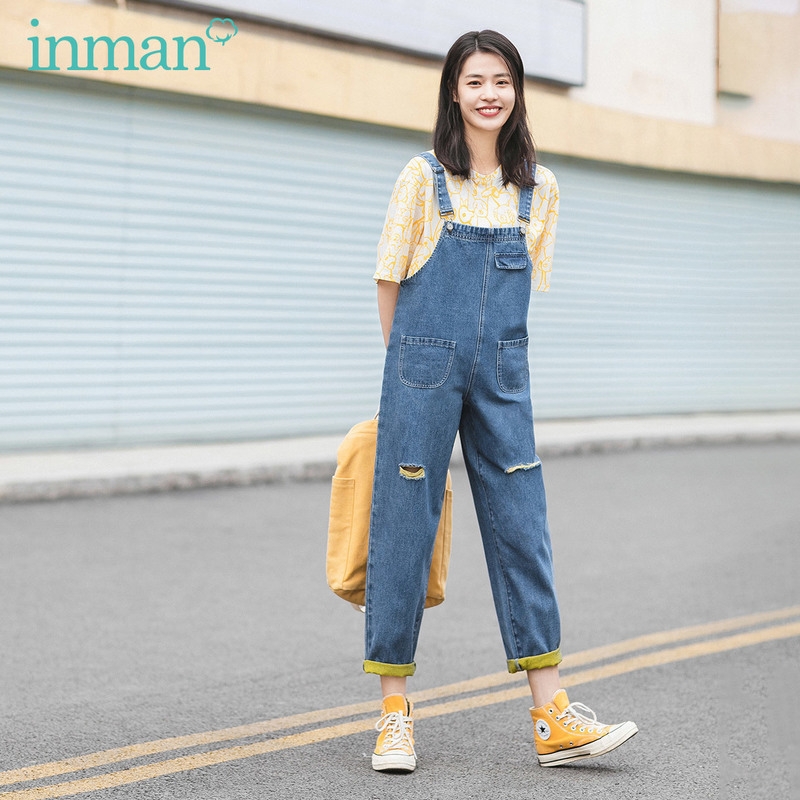 INMAN 2020 Summer New Arrival Personality Hole Loose Nifty Frock Style Ankle Length Suspender