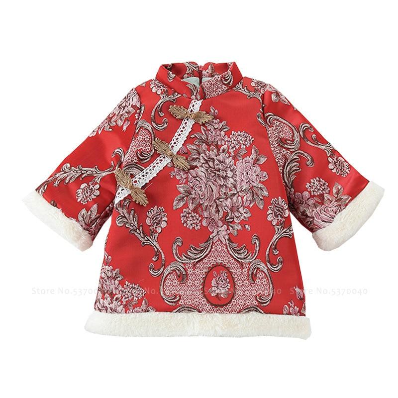 Kids Girl Retro Cheongsam Winter Fur Plus Velvet Princess Dress Baby Chinese Traditional New Year Tang Suit Children Qipao Coats