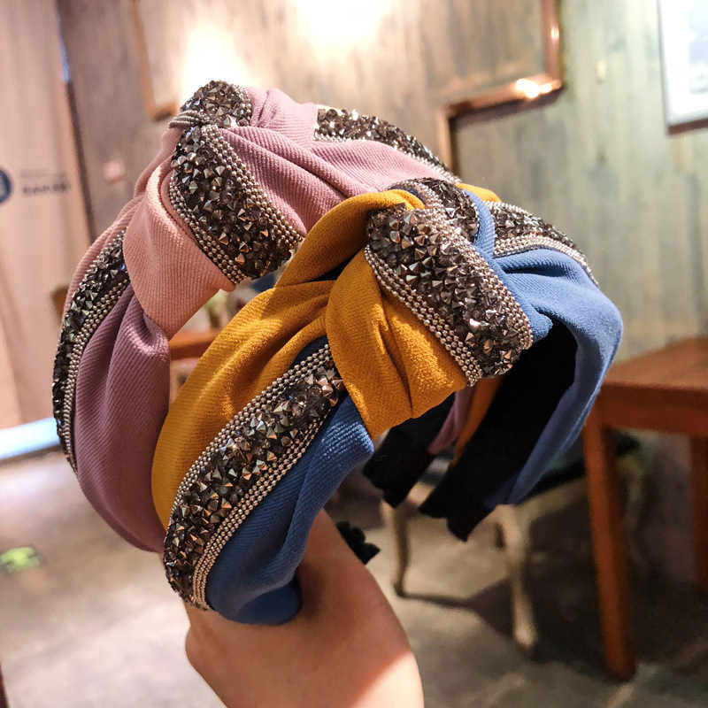 Women Wide Twist Patchwork Headband Vintage Sequin Crystal Tie Shiny Hair Hoop