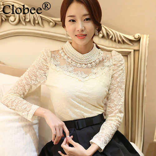 2020 elegant long sleeve bodysuit beaded Women lace blouse shirts crochet tops blusas Mesh Chiffon blouse female clothing