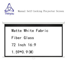 Thinyou Manual self-locking Projector Screen 72 inch 16:9 Matte White Fabric Fiber Glass Pull Down for home theater