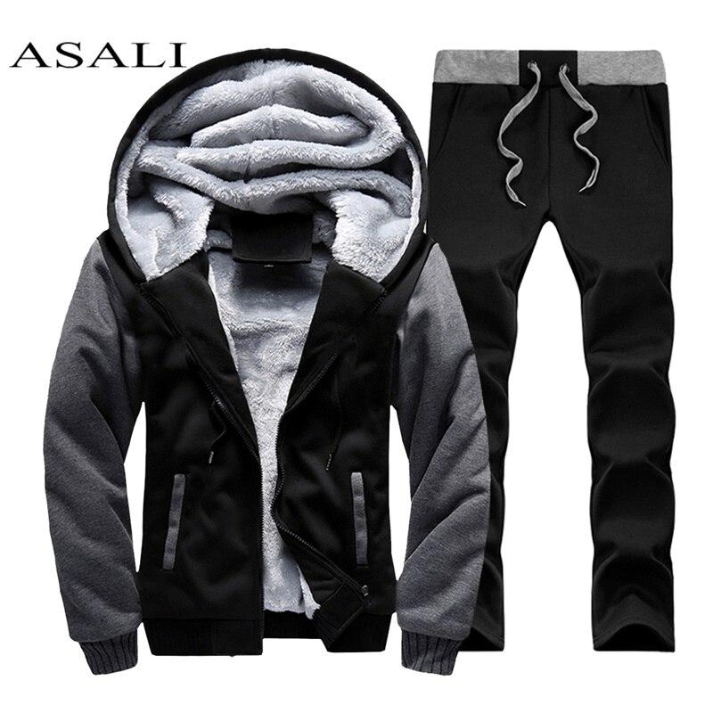 Zipper Fur Hooded Men Tracksuit Cotton Sportswear 2019 Tracksuits Sets Jogging Homme Men's Hoodies+Pants Casual Outwear Suits