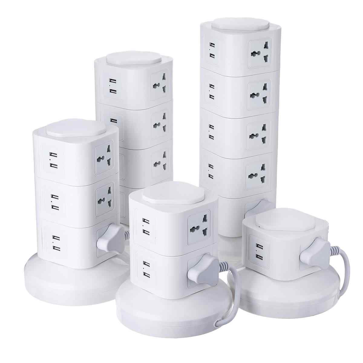 Multi Layer สายไฟแนวตั้ง Powerboard Multi Layer แนวตั้ง Socket 6 พอร์ต USB Outlet Power Strip Protector