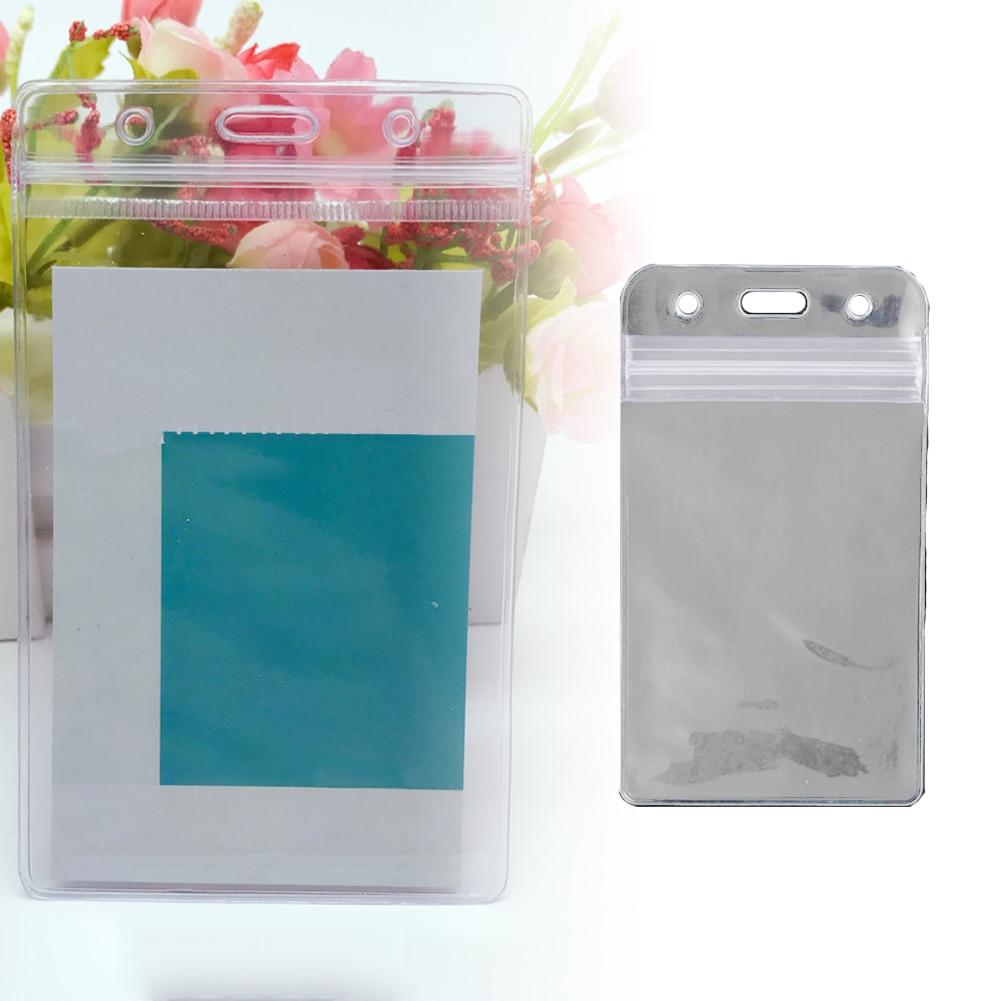 New 10 Pcs Vertical Transparent Vinyl Plastic Clear ID Card Badge Holder With Zipper Zip-Lock Design Waterproof Convenient Tolls