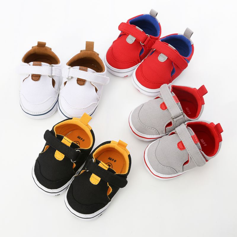 Spring Autumn Newborn Baby Boy Girl Sneaker Casual Patchwork Cotton Fabric Comfortable Anti-Slip Soft Soled First Walkers Shoes