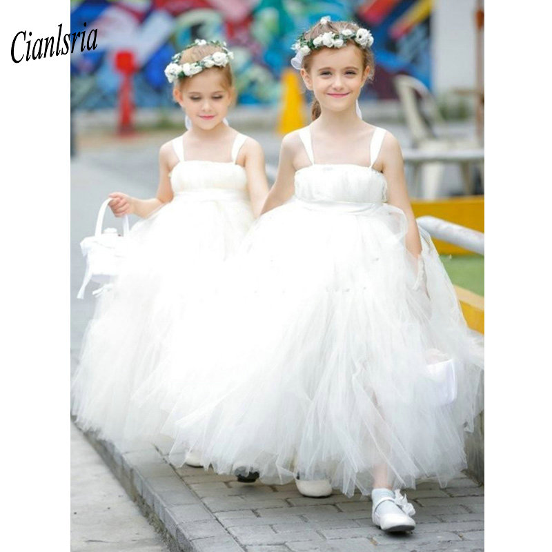 Elegant Spaghetti Straps Puffy Tulle Princess Ball Gown Flower Girl Dresses Sleeveless Pleat Kids Pageant Communion Dresses