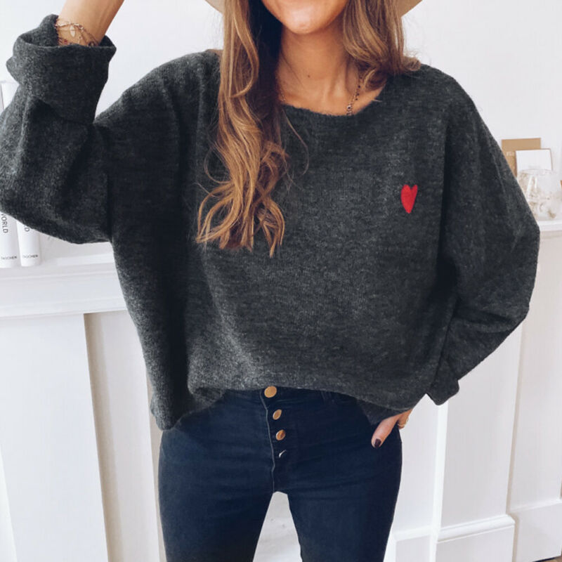Casual Women's Sweater Women Autumn Round Neck Embroidered Heart-Shaped Print Knitted Loose Wild Pullovers Sweaters Streetwears
