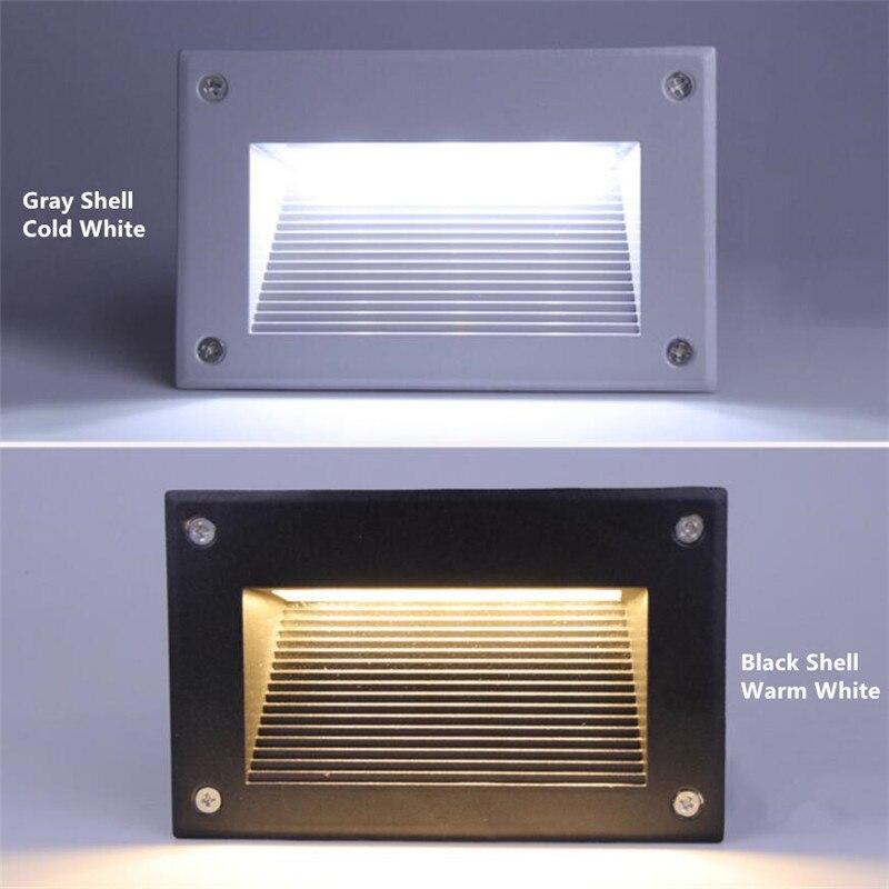 SZQIHANG 5W Outdoor Led Step Light IP67 Aluminum Embedded Staircase Corner Lamp Waterproof Recessed Wall Stair Lamp Footlight