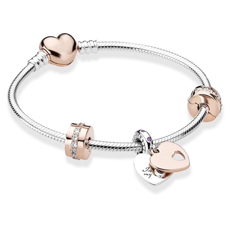 BRACE CO European Heart-shaped Pendant Charm Bracelet Fit Women's Jewellery Snake Chain Rose Gold Metal Fashion Fine Bracelets 1