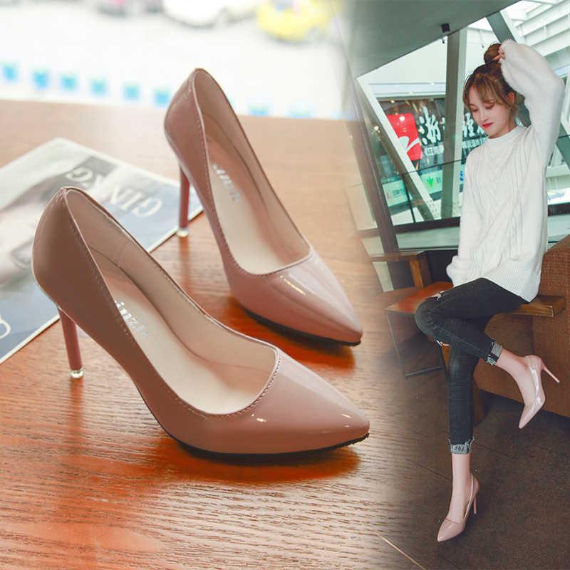 Sexy Wanita Sepatu Hak Tinggi Runcing Tumit Stiletto Hitam Bekerja Single Sepatu Merah Pernikahan Sepatu Kulit Paten Gaun Pesta pompa