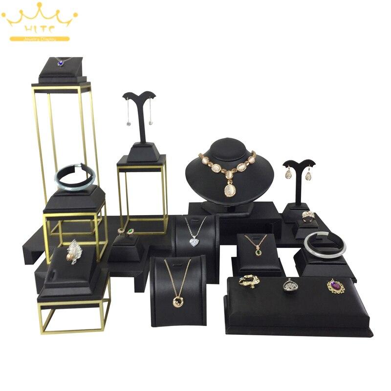 Bijoux en cuir noir affichage accessoire ensemble collier anneau pendentif support bijoux support fenêtre affichage