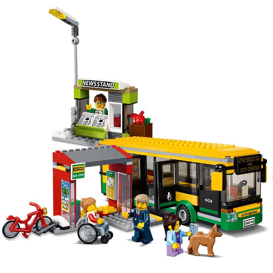 CITY Town Bus Station Building Blocks Sets Kits Bricks Kids Classic Model Toys Gift Kids Marvel Compatible 60154