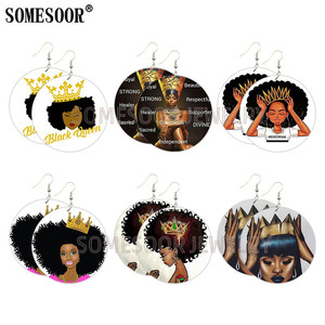 SOMESOOR, Черная Королева, корона, респект, черные деревянные висячие серьги, меланин, девочка, волшебный дизайн, принт, дерево, висячие серьги дл...