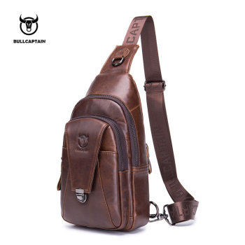 BULLCAPTAIN Men Genuine Leather Crossbody Bags Male Vintage Sling Bag for Summer Trip Chest Pack Messenger Shoulder Bag qibolu genuine leather mens sling bag single shoulder bag men chest pack messenger crossbody bag for man bolsas masculina mba37