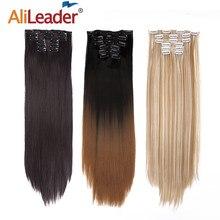 Alileader — Postiche de cheveux lisses 6 pièces par set, 16 clips, cheveux postiches, résistants à la chaleur, extensions de cheveux 22 pouces, 140g