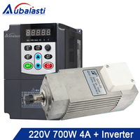 Aubalasti 700W Air Cooling Spindle 220V 4A + Inverter Single Phase 220V 0.75KW Current 10A for CNC Router machine