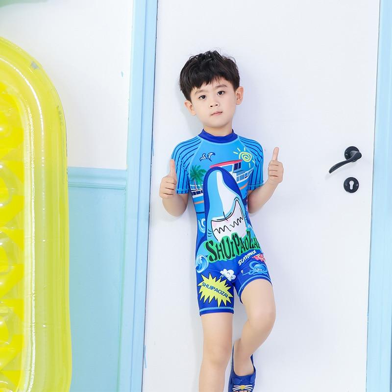 KID'S Swimwear Boys' One-piece Swimsuit Big Boy South Korea Cartoon Male Baby Capping Swimming Half Sleeve Swimwear