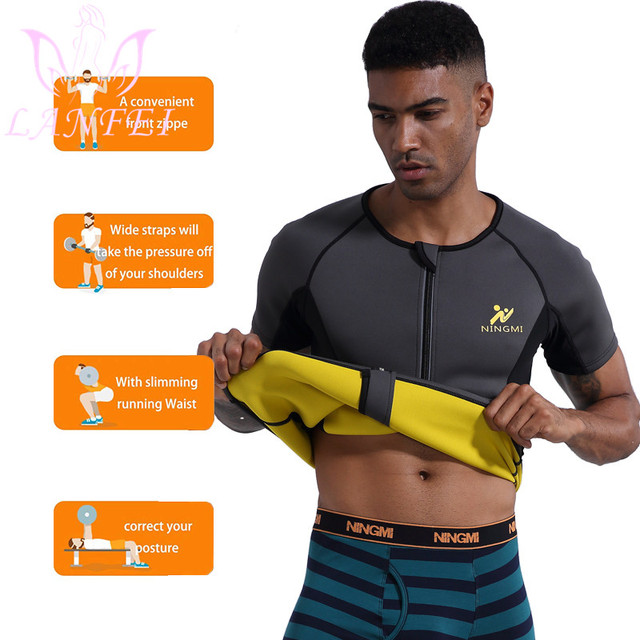 LANFEI Men Waist Trainer Body Shaper Shirt Zipper Weight Loss Hot Sweat Neoprene Sauna Slimming Shapewear Sport Gym Belt Vest 1