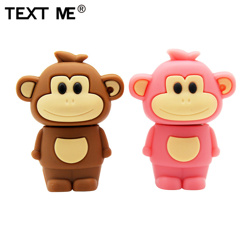 TEXT ME Cartoon Animal Monkey 64GB USB 2.0 Usb Flash Drive Usb 2.0 4GB 8GB 16GB 32GB  Pen Drive