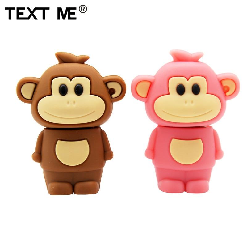 TEXT ME Cartoon Animal Monkey 64GB USB 2.0 Usb Flash Drive Usb 2.0 4GB 8GB 16GB 32GB  Pen Drive