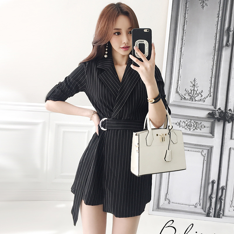 2019 Spring And Summer New Style Slim Fit Wear Ol Thin Stripe Suit Collar Side Buckle Half-sleeve Shirt Set Onesie