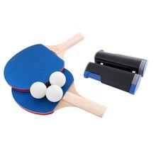 Пинг понг набор портативный телескопическая чистая ракетки весла 1 пара летучих мышей белых шаров для открытый легкий спортивный украшения
