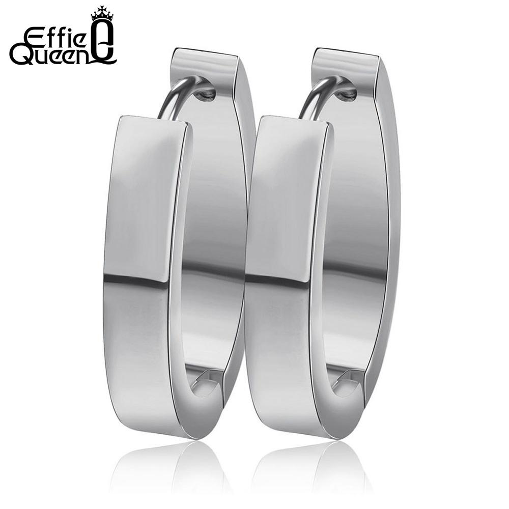 Effie Queen High Quality 316 L Stainless Steel Earrings for Women Perfect Polished Circle Stud Earring Trendy Men Jewelry IE17