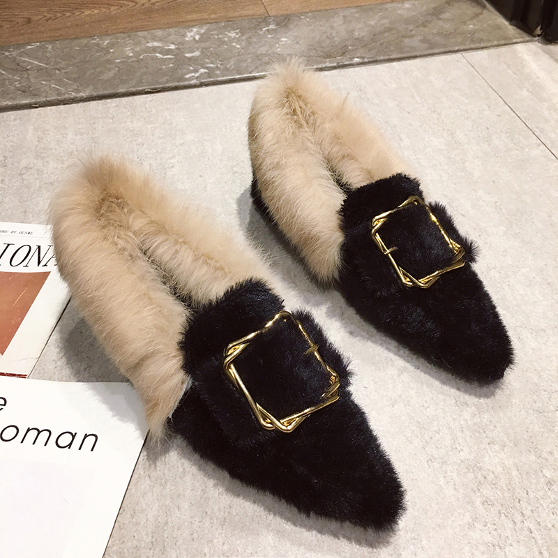pointed toe mink hair long fur loafers chunky heels metal decoration buckle slip-on moccasins all match furry plush espadrilles 100