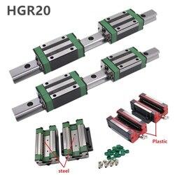 2pc HGR20 HGH20 Platz Linearführungsschiene JEDE LÄNGE + 4pc Rutsche Block Wagen HGH20CA/flang HGW20CC CNC Router Gravur