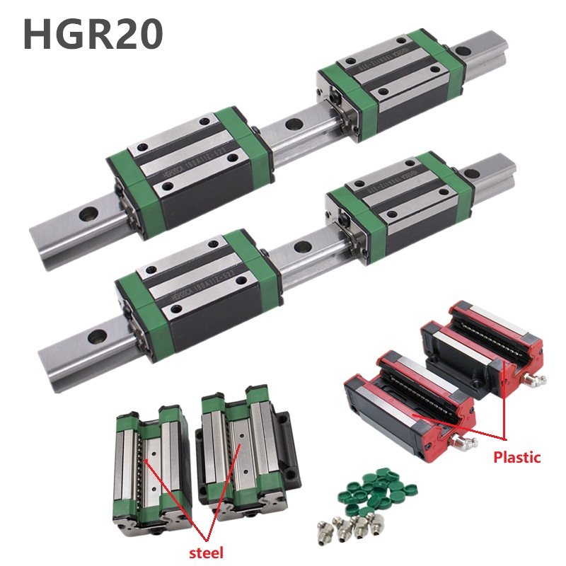 2pc HGR20 HGH20 Square Linear Guide Rail ANY LENGTH 4pc Slide Block Carriages HGH20CA flang HGW20CC