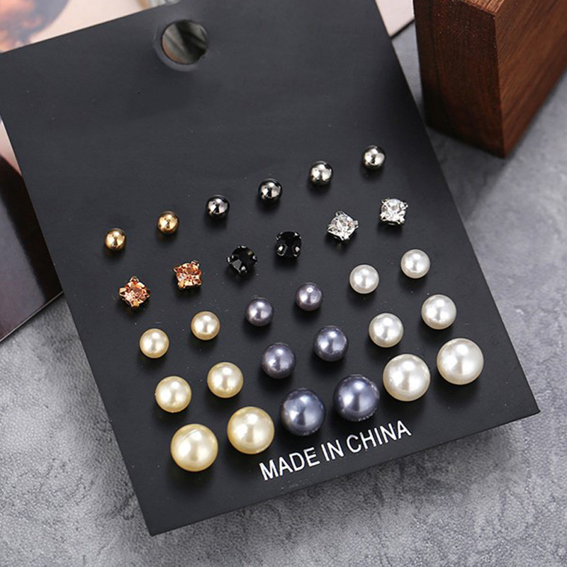 15pairs set Heart Square Crystal Stud Earrings Set 2019 New Rhinestone Imitation Pearl Earrings for Women Gift in Stud Earrings from Jewelry Accessories